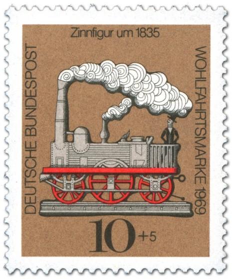 Briefmarke: Zinnfigur um 1835 - Dampfeisenbahn