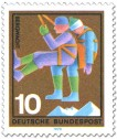 Briefmarke: Bergwacht: Abseilen eines Verunglückten
