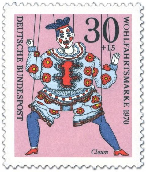 Briefmarke: Clown Marionette
