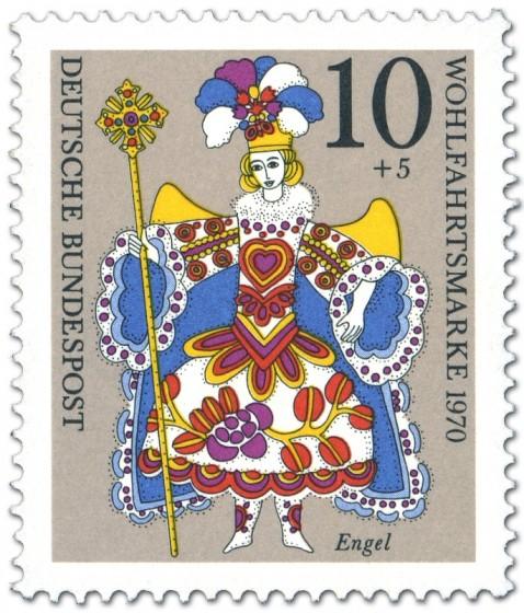 Briefmarke: Engel im Kostüm (Weihnachtsmarke 1970)