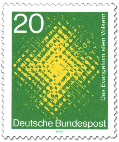 Briefmarke: Das Evangelium allen Völkern (leuchtendes Kreuz)