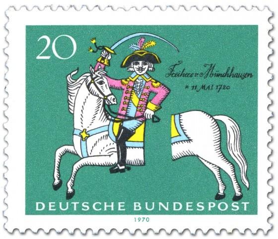Briefmarke: Freiherr Baron von Münchhausen (auf durchtrenntem Pferd)