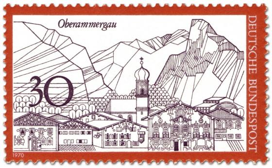 Briefmarke: Oberammergau (Stadtsilhouette und Berge)