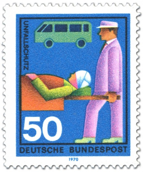 Briefmarke: Unfallschutz: Verletzter wird abtransportiert
