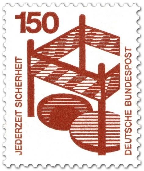 Briefmarke: Absperrung um offenen Gulli - Sturzgefahr