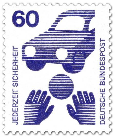Briefmarke: Ball spielendes Kind und Auto