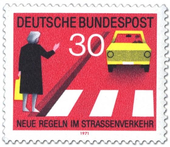 Briefmarke: Fußgänger am Zebrastreifen mit Handzeichen