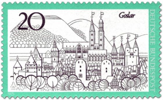 Briefmarke: Goslar - Stadtansicht mit Kaiserpfalz