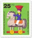 Briefmarke: Holzspielzeug: Pferd und Reiter