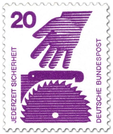 Briefmarke: Kreissäge und Hand (Gefahr)