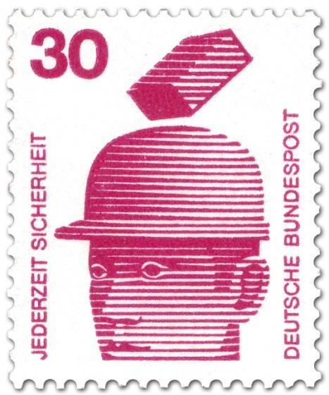 Briefmarke: Schutzhelm - fallender Ziegelstein
