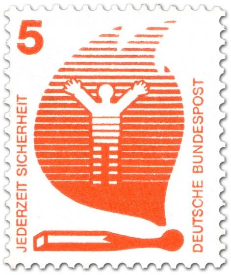 Briefmarke: Streichholz-Flamme - Feuergefahr