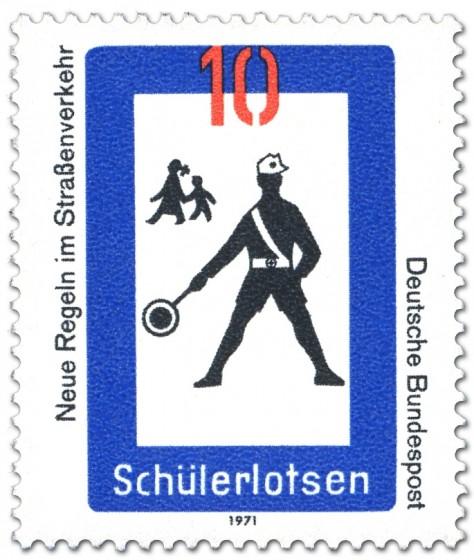 Briefmarke: Verkehrsschild: Schülerlotse