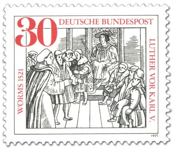 Briefmarke: Wormser Reichstag: Martin Luther vor Karl V.