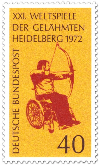 Briefmarke: Bogenschießen im Rollstuhl (Weltspiele der Gelähmten)