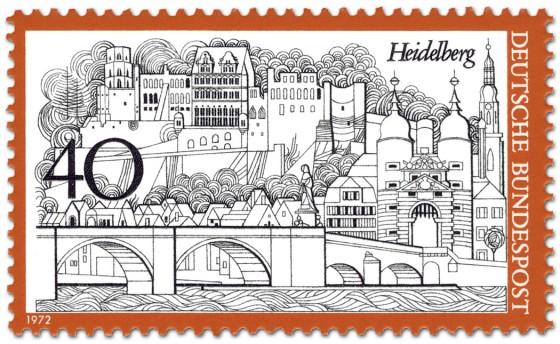 Briefmarke: Heidelberg Stadtansicht Schloss