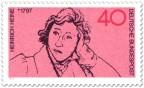 Briefmarke: Zeichnung von Heinrich Heine (Dichter)