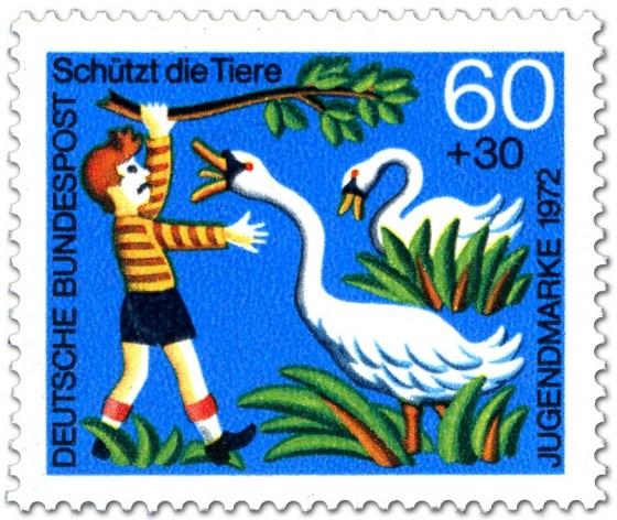 Briefmarke: Junge ärgert Schwäne am See