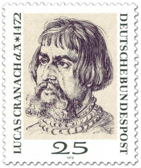Briefmarke: Lucas Cranach d. Ä. (Portrait von Dürer)