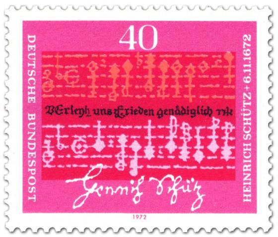 Briefmarke: Notenblatt und Handschrift von Heinrich Schütz