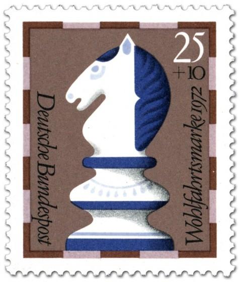 Briefmarke: Springer (Schachfigur)