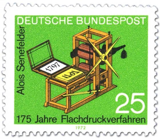 Briefmarke: Steindruckpresse von Alois Senefelder