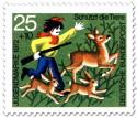 Briefmarke: Unruhe stiftender Junge im Wald vertreibt Rehe
