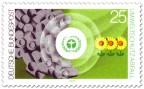 Briefmarke: Umweltschutz: Abfalltonnen auf grüner Wiese