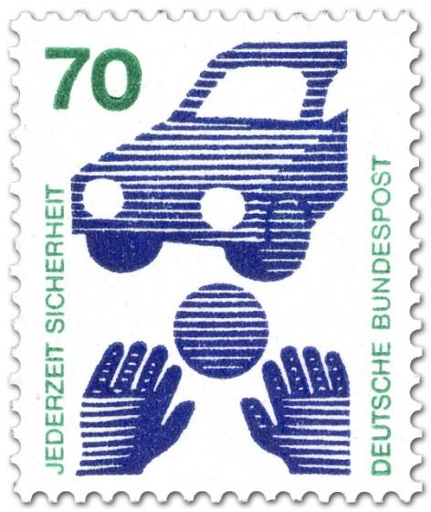 Briefmarke: Auto, Kinderhände und Ball