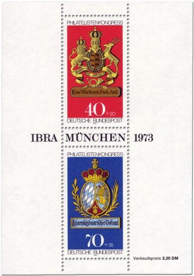 Briefmarke: Briefmarkenblock IBRA München 1973
