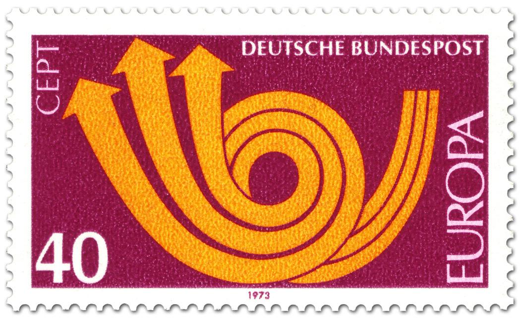 Europamarke 1973 Posthorn Rot Briefmarke 1973