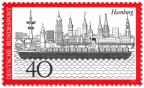 Briefmarke: Hamburg Stadtansicht mit Hafen