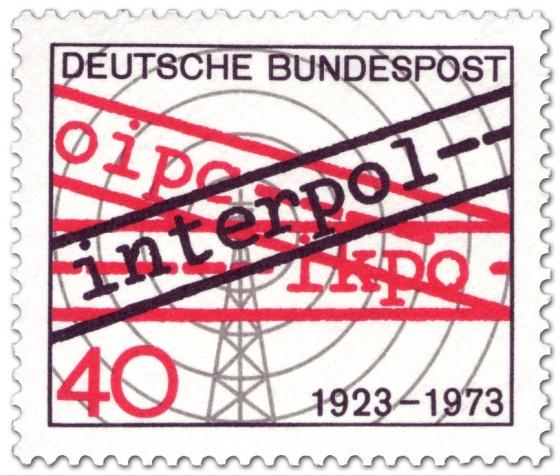 Briefmarke: 50 Jahre Interpol (Funkturm)