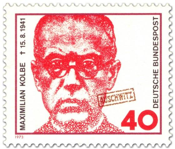 Briefmarke: Maximilian Kolbe (Pater, in Auschwitz ermordet)