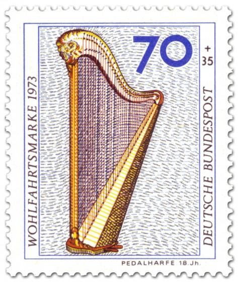 Briefmarke: Pedalharfe aus dem 18. Jahrhundert
