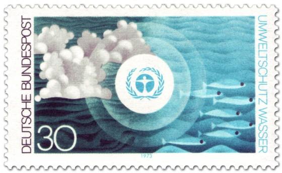 Briefmarke: Umweltschutz: Wasser, Fische und Wolken