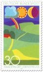 Briefmarke: Abstraktes Landschaftsbild (Wandern gibt Lebensfreude)