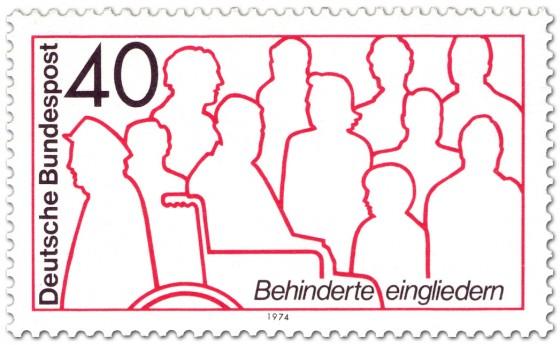 Briefmarke: Behinderte Eingliedern (im Rollstuhl)