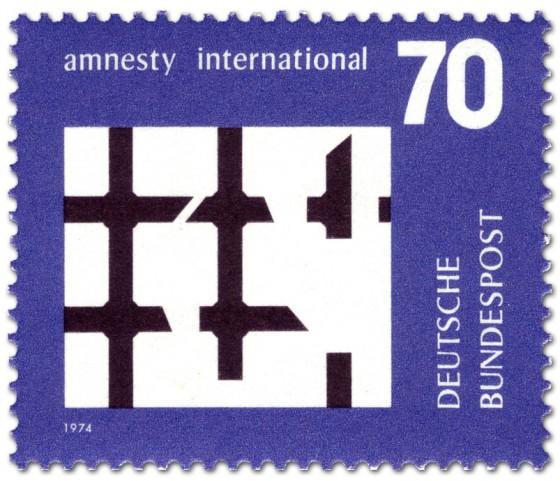 Briefmarke: Gebrochenes Gitter (Amnesty International)