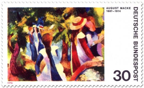 Briefmarke: Mädchen unter Bäumen von August Macke