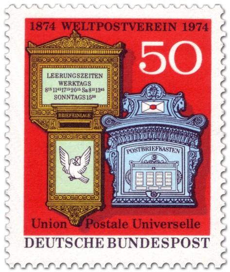 Briefmarke: 2 Postbriefkästen - 100 Jahre Weltpostverein