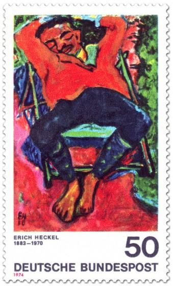 Briefmarke: Schlafender Pechstein von Erich Heckel