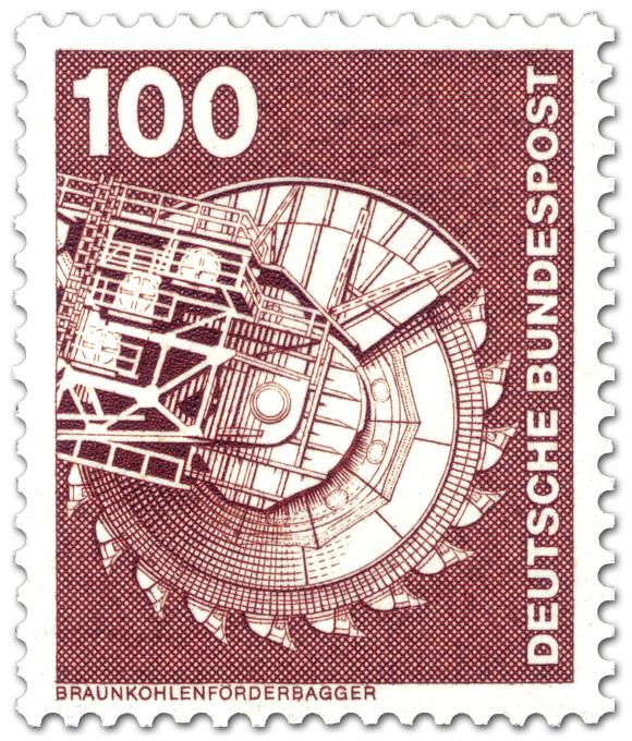 Braunkohlenförderbagger Briefmarke 1975