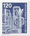 Briefmarke: Chemieanlage, Metallrohre
