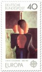 Briefmarke: Figurengruppe - Gemälde von Oskar Schlemmer