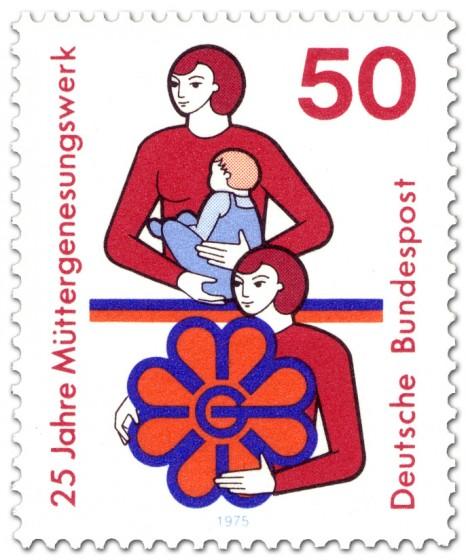 Briefmarke: Mutter mit Kind und Frau mit Müttergenesungswerk-Logo