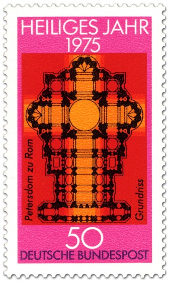Briefmarke: Grundriss Petersdom Rom (Heiliges Jahr 1975)