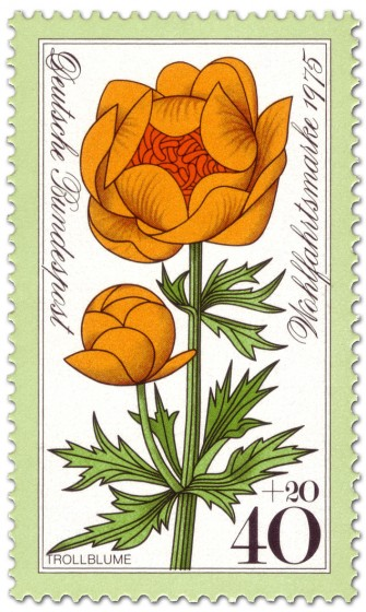 Briefmarke: Gelbe Trollblume