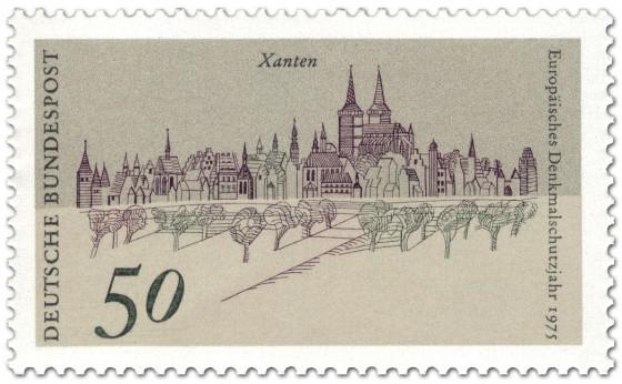 Briefmarke: Stadtansicht von Xanten