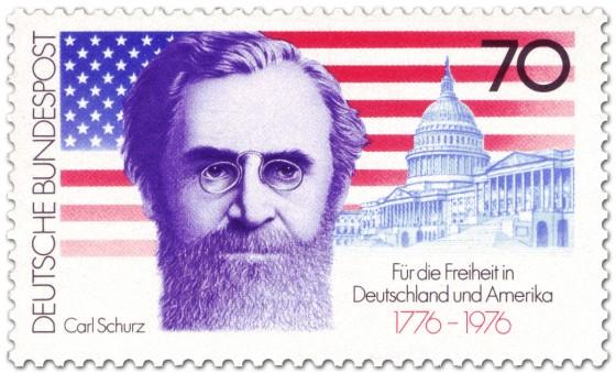 Briefmarke: Carl Schurz vor Sternenbanner und Capitol